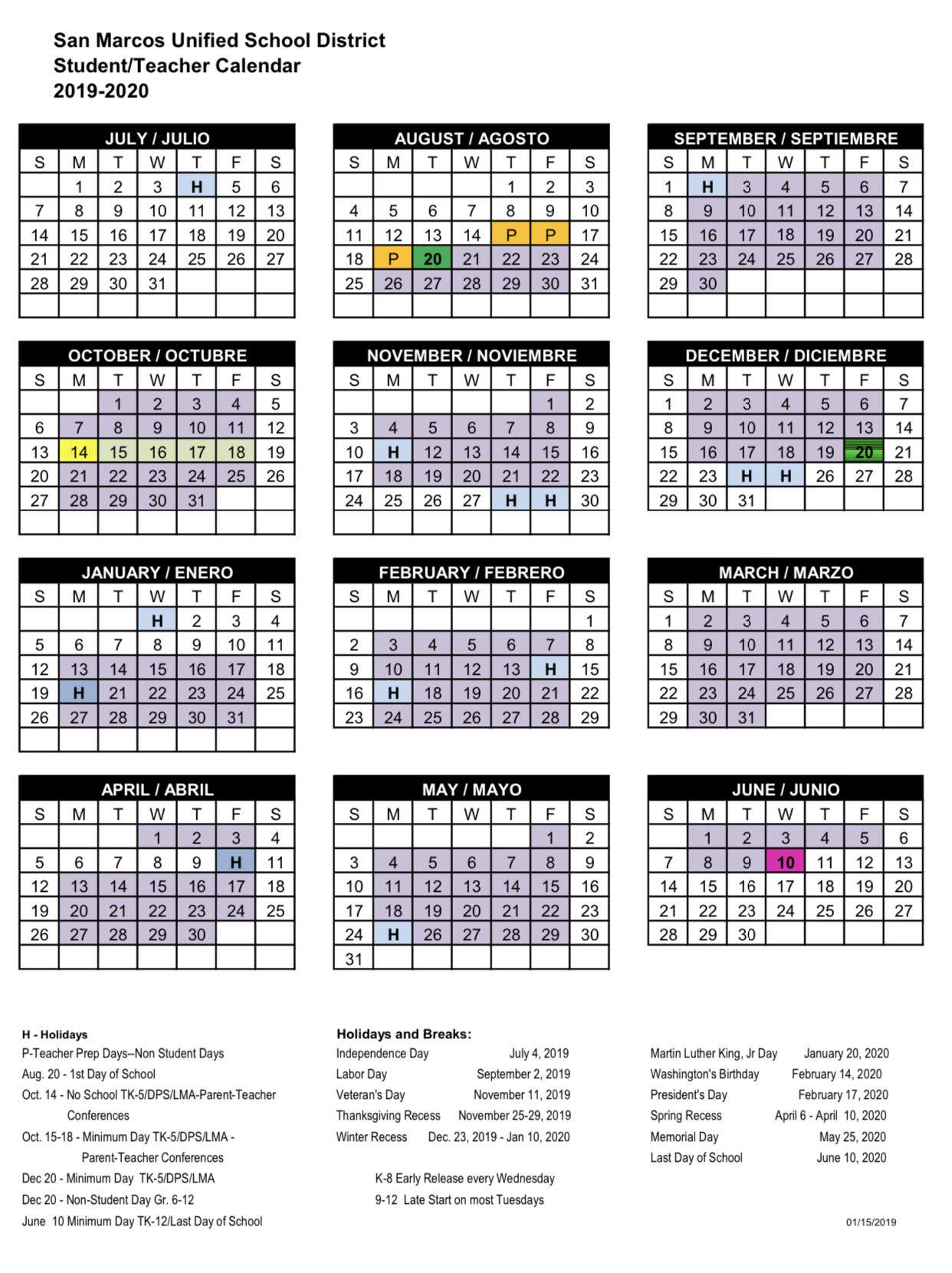 Calendar - San Marcos Unified