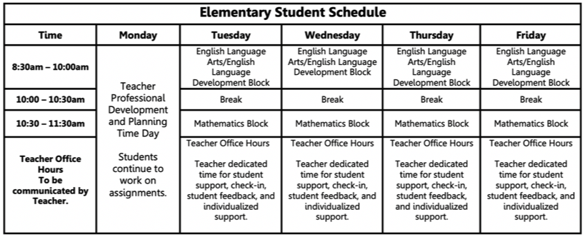 Distance Learning Schedule Elementary