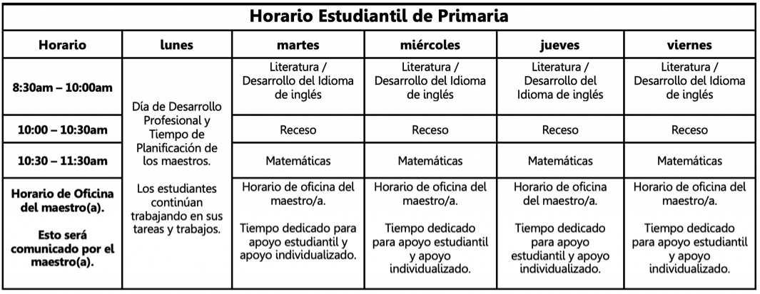 elementary schedule in Spanish