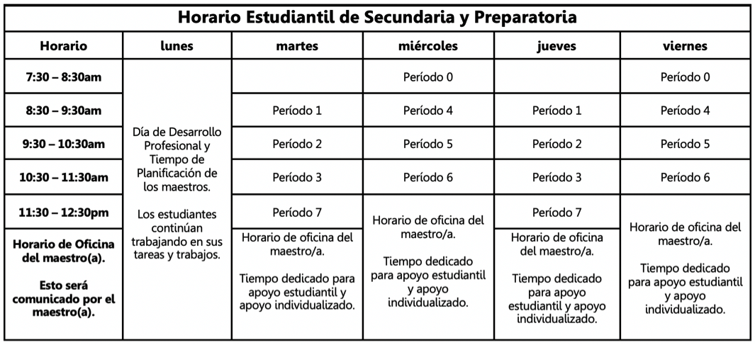 Secondary schedule in Spanish