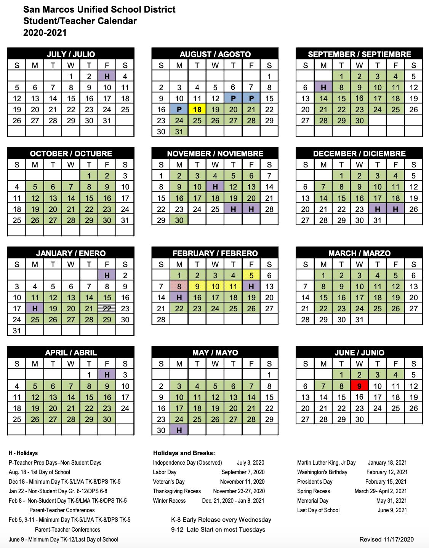 San Marcos Unified School District Calendar 2021-2022 Calendar   San Marcos Unified