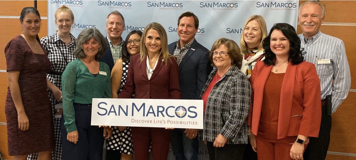 City of San Marcos State of Your Community Address presented by Mayor Rebecca Jones, featuring SMUSD Board Members and Superintendent.